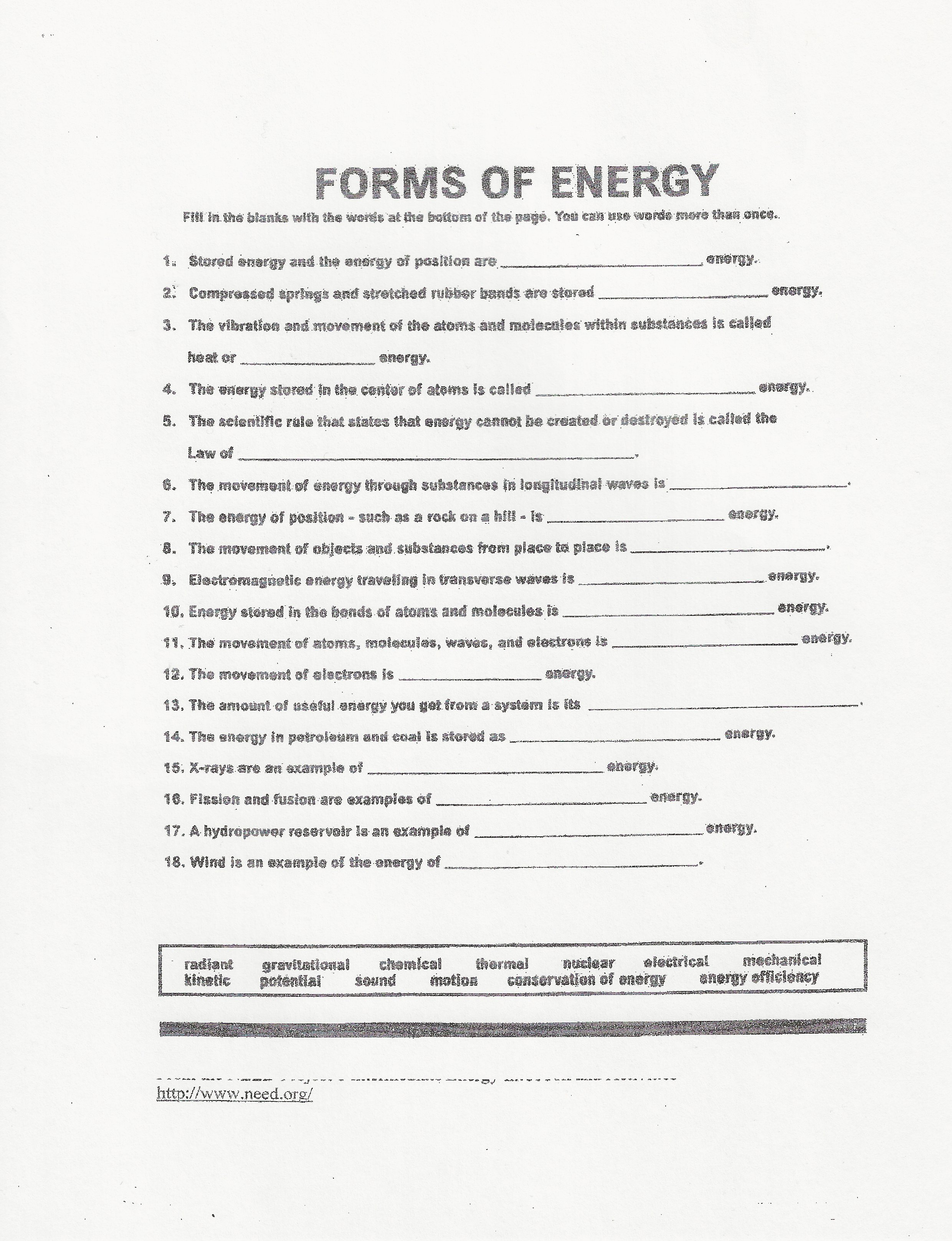 Printables Forms Of Energy Worksheet forms of energy worksheet davezan physical science quarter 1 ms athena klock teacherpine worksheets abitlikethis